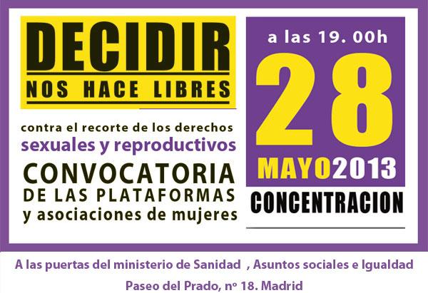 Convocatoria de la Concentración 28 Mayo día Internacional de Acción por la Salud de la Mujer