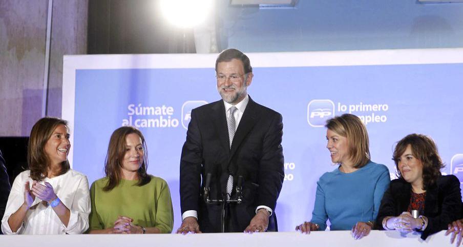 Primeras imágenes de Rajoy tras las elecciones de España del 20 Noviembre