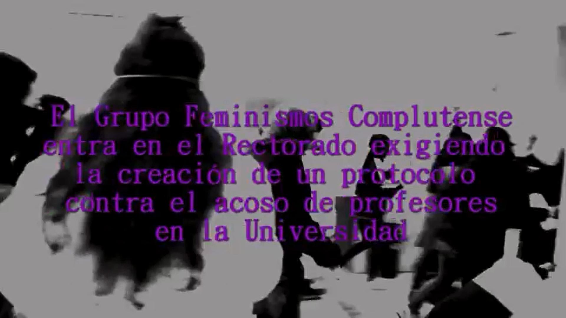 Acción de denuncia de la Asamblea Feminista Complutense contra el acoso sexual