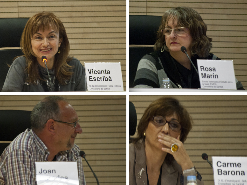 Ponentes de la Jornada Las desigualdades en Salud y Género: Vicenta Escribà, Rosa Marín, Joan Paredes y Carme Barona