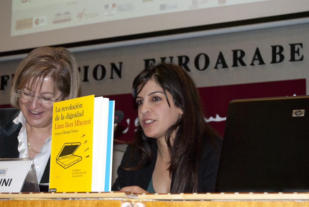 Lina Ben Mhenni en la Fundación Euroarabe de Granada